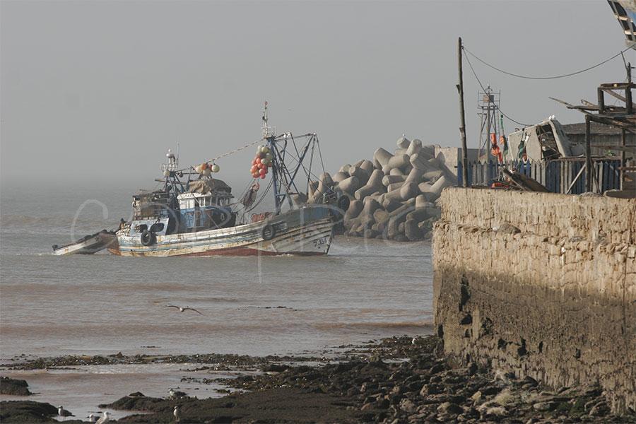barce pesquero playa essaouira.